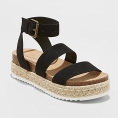 Womens Agnes Quarter Strap Espadrille Sandals - Universal Thread™ Black 10 : Target