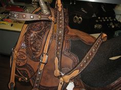 Alamo Saddlery Chocolate Glove Leather Tack Set with Antique Spots ON SALE NOW. #Barrelracingtack