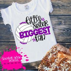 Little Sister Biggest Fan - Volleyball SVG cut file for silhouette cameo and cricut vinyl cutting machines. Volleyball Senior Gifts, Volleyball Outfits, Volleyball Shorts, Volleyball Mom, Volleyball Pictures, Volleyball Sweatshirts, Volleyball Quotes, Volleyball Setter, Scarlett Rose
