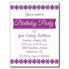 Purple and White Girl's Floral Birthday Party Post Card Invitation #happybirthday #birthdayparty