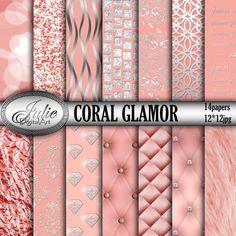 Coral digital papers glamor laсe texture foil от JulieDigitalArt