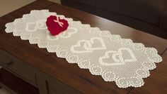 Filet crochet heart table runner