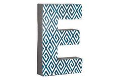 Letter E, Navy Greek Key on OneKingsLane.com