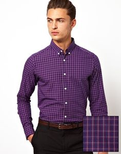 $19 ASOS Smart Shirt in Long Sleeve with Check