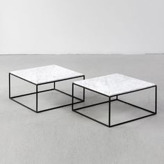 Jorge Zalszupin; Enameled Iron and Marble Coffee Tables for L'Atelier, 1960s.