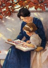 My Mom reading to me & teaching me the importance of books & reading!  This illustration is by Jesse Wilcox Smith.