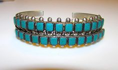 "Old Pawn Native American Zuni Sterling Silver Turquoise Cuff Bracelets ""Snake Eyes"" Design Set of 2"
