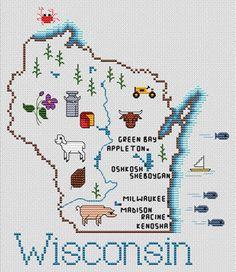 Wisconsin Map - Cross Stitch Pattern