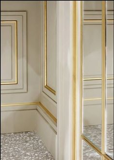Beautiful wall panels: gold molding on the white wall - Wohnen House Design, House, Interior Decorating, Interior, Home, Interior Architecture, Interior Details, Wall Paneling, Wall Design