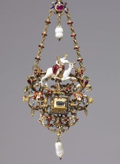 Pendant with a Personification of Fortitude. German, ca. 1625-1650