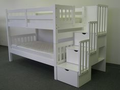 Bunk Beds - Twin over Twin Stairway White for only $648 with Free Shipping*. would be so neat in my grandaughters room for her friends sleep overs..also comes in pine color!