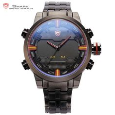 Cheap watch dual, Buy Quality watches dual time directly from China watch men quartz watch Suppliers: Sawback Angel SHARK Sport Watch Dual Time Digital LED Date Day Analog Black Red Stainless Steel Strap Mens Quartz Watches Cheap Watches, Stylish Watches, Luxury Watches, Cool Watches, Watches For Men, Black Watches, Popular Watches, Fine Watches, Women's Watches