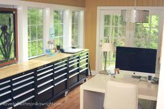 I LOVE this space! I must show this space to my husband stat! Would be perfect for my travel agency office from home! | my studio | featured at craft storage ideas