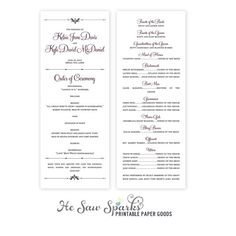 Printable Wedding Programs Program Long Card Ashley Suite By Hesawsparks