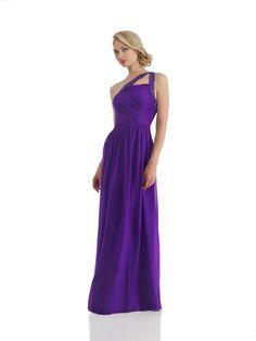 One Shoulder Floor Length Purple Chiffon A Line Evening Dress