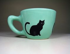 12oz Black Cat Cup by Circa Ceramics