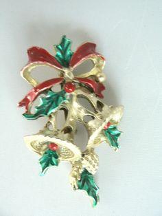 Vintage Christmas Silver Bells Enameled Pin Brooch