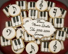 Sweet Handmade Cookies - piano cookies, musical note cookies, treble clef cookies, bass clef cookies.