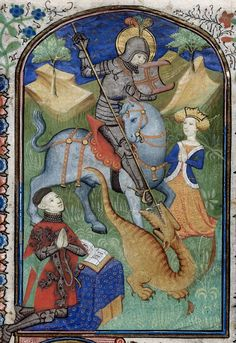 Detail of a miniature of George fighting the dragon, in a Book of Hours: France, c. (London, British Library, MS Harley f. I like the small blue jacket the lady is wearing. Medieval Dragon, Medieval World, Medieval Armor, St Georges Day, Saint Georges, Medieval Manuscript, Illuminated Manuscript, Happy St George's Day, Saint George And The Dragon
