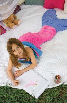 Mermaid tail blankets handmade by Blankie Tails. Fantastic!
