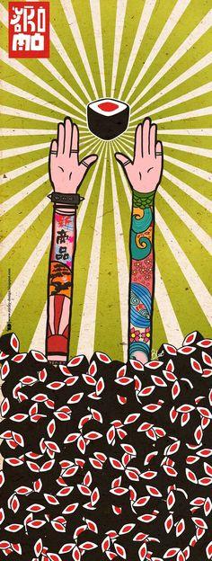 Sticky Design: Ilustración Yokomo Sushi Puertas.