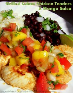 Watching What I Eat: Grilled Cuban Chicken Tenders & Mango Salsa Cuban Recipes, Healthy Recipes, Yummy Recipes, Cuban Chicken, Clean Eating Dinner, Mango Salsa, Breakfast Lunch Dinner, Salsa Recipe, Chicken Tenders
