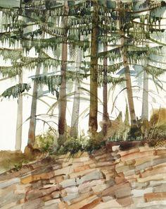 Forest Landscape Original Painting Watercolor Fine Art - 8x10 - Land of Magic. $64.00, via Etsy.