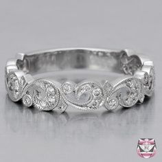 Scrolled Diamond Wedding Band - Special Order
