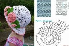 Sombrero a crochet Crochet Cap, Crochet Girls, Crochet Baby Hats, Thread Crochet, Crochet Scarves, Crochet Motif, Crochet For Kids, Diy Crochet, Crochet Clothes