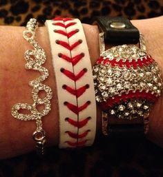 Rhinestone Baseball LOVE stack bracelet SET Baseball MOM