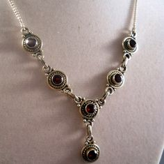 Vintage Artisan Sterling Garnet Necklace Estate Jewelry from Suzy's Timeless Treasures Exclusively on Ruby Lane