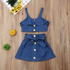 Toddler Baby Girls Solid Print Denim Suspender Vest Tops+Skirts Outfits Lovely Toddler Ruffle Girl Suit For Birthday Party Set, Ropa de niña, Frocks For Girls, Dresses Kids Girl, Kids Outfits Girls, Little Girl Outfits, Girls Fashion Clothes, Baby Girl Fashion, Kids Fashion, Fashion Outfits, Girls Denim Dress