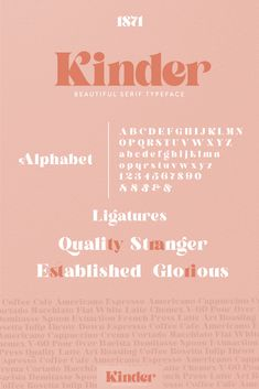 Introducing Kinder, our first serif font featuring both upper and lowercase characters! Featuring unique beautiful curves and a modern feel (look at that K! Vintage Logo, Vintage Typography, Typography Letters, Typography Poster, Japanese Typography, Fashion Typography, Japanese Logo, Vintage Fonts, Modern Typography