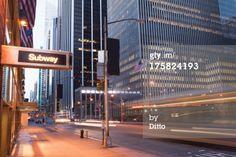 Lizenzfreies Bild: Illuminated subway sign at dusk New York City…
