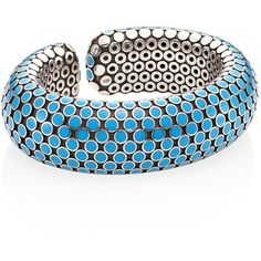 John Hardy Dot Medium Sterling Silver Flex Cuff/Turquoise ($1,495) ❤ liked on Polyvore featuring jewelry, bracelets, chunky bangles, chunky jewelry, blue bangles, sterling silver cuff bangle and chunky sterling silver jewelry