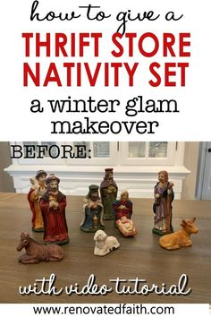 """You won't believe the before photo!  This easy step-by-step tutorial and video shows you how to give your nativity scene display a makeover with paint and a little clear glitter.  This vintage nativity scene makeover can also work on Christmas village figurines, no matter the colors.  Included are display ideas to give it a """"wood and white"""" look. Thrifted Nativity Set Makeover.  Dollar Store Nativity Scene Makeover. Elegant Christmas Decor, Coastal Christmas, Simple Christmas, Christmas Decorations, Christmas Ornament, White Nativity Set, Spray Painting Glass, Best Spray Paint, Winter Wonderland Decorations"""