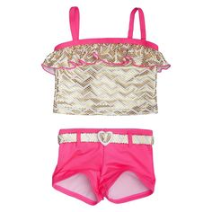 Toddler Girls' Penny M Foil Chevron 2-Piece Tankini Swimsuit Pink 2T, Toddler Girl's, Multi-Colored