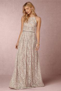 BHLDN bridesmaid dress with a high neckline and maxi skirt