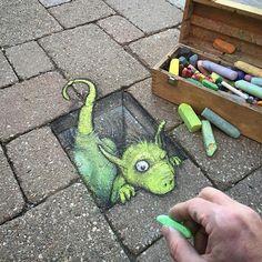 Optische Illusion von David Zinn #streetart #anamorphosis