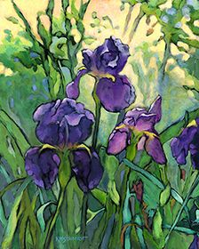 """""""Fabol's Irises"""" by Karen Mathison Schmidt. -KMSchmidt Floral & Garden paintings"""