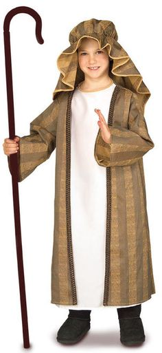 Childs Shepherd Boy Nativity Costume - Bring forth the shepherds to celebrate the birth of baby Jesus with this classic Shepherd's Boy costume. It comes with a tunic robe and headpiece. Perfect for church nativity scenes, part of a play or Halloween. #YYC #Calgary #Costume #Shepherd #ShepherdBoy #Nativity