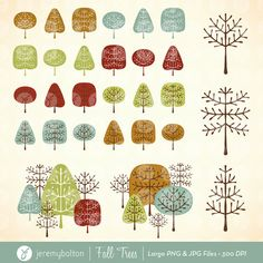 Trees for Fall Clipart Collection by JeremyBolton on Etsy, $2.50