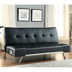Amazon.com: Coaster 500139 Home Furnishings Bluetooth Sofa Bed with Built In Speakers, Black Premium Bonded Leather: Kitchen & Dining