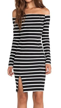 AVAILABLE NOW! <3 Riviera Black White Striped Off The Shoulder Dress