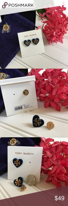 "🆕 TORY BURCH -Tilsim Logo Heart Stud Earrings Brand new with tag and in a Tory Burch jewelry pouch, Tilsim logo Heart Stud earrings in Navy/Gold. Gleaming gold on navy punctuate heart shaped studs with post back, approximately 3/4"" and made from 16-k gold plate/resin. On original card, in packaging and jewelry pouch.          Heart Shaped design with T Logo Post Closure Comes with signature dust pouch                           MSRP: $68  PoshPrice: $49                               Ship…"