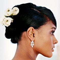 African American Wedding Hairstyles & Hairdos: Floral Updo
