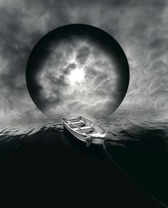 Untitled (Boat and Moon), by Jerry Uelsmann; WOW!  This is great!  Again, this is combining water, reflection, and light.  I am inspired by this photo because I will be using orbs as alternative life paths.  JR