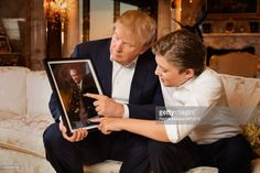 Donald Trump and Barron Trump are photographed at Trump Tower on January 6, 2016 in New York City.