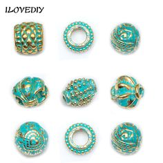 Wholesale 50/100Pcs/lot 8.5mm-12mmMetal Vintage Green and Gold Tube Bead Tibetan Silver Spacer Beads for Bracelet Jewelry Making