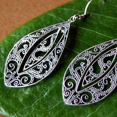Zee Bee Market LLC - Filigree Teardrop Sterling Silver Earrings